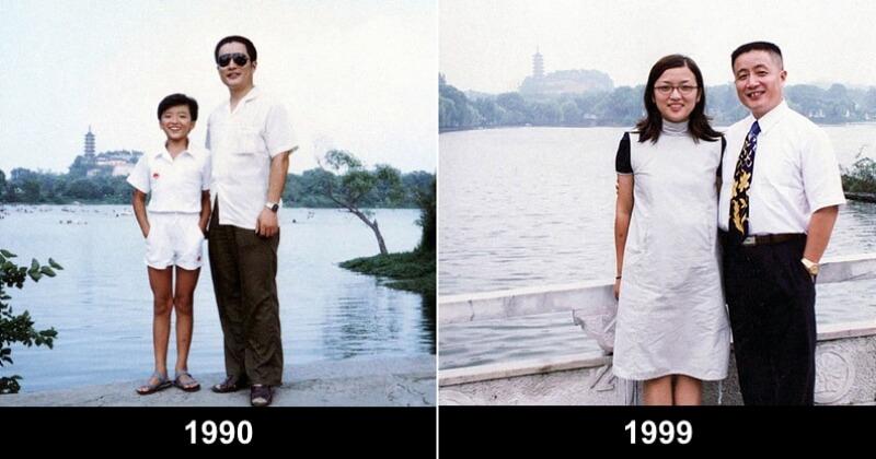 Pendant 40 ans, ce père et sa fille ont pris la pose au même endroit