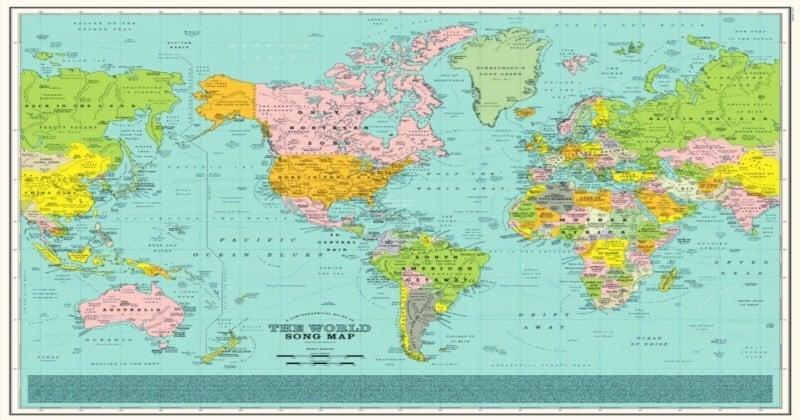 Cette carte du monde est entièrement composée de chansons !