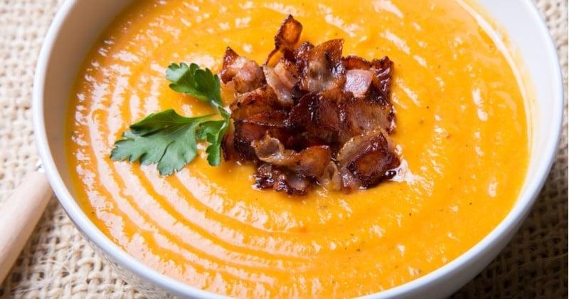 Soupe butternut et bacon grillé