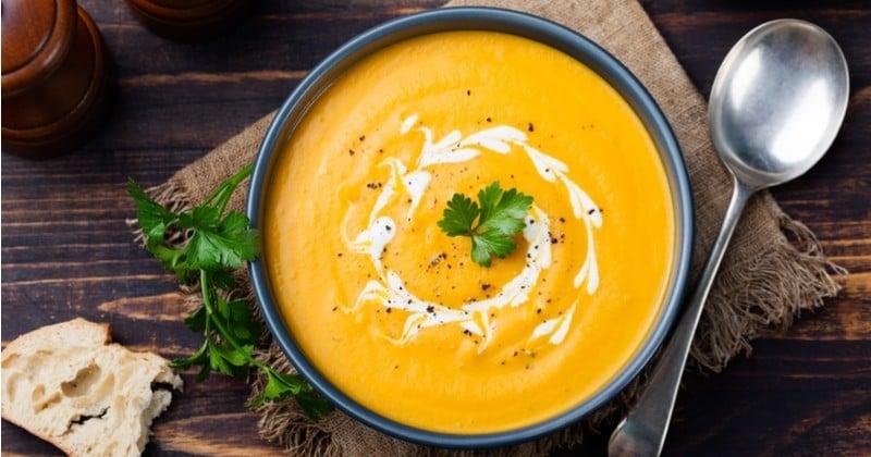 soupe «4C» à la carotte, curry, coriandre et lait de coco