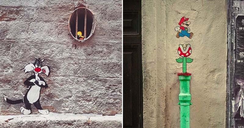 Un artiste français détourne le décor urbain pour donner vie à des personnages de la pop culture