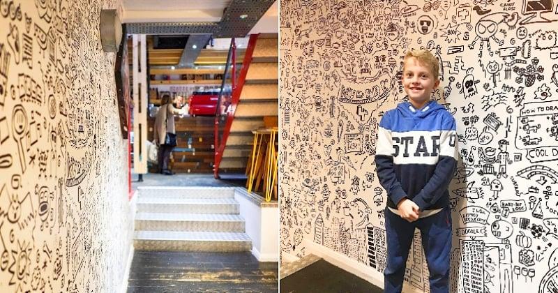 En Angleterre, ce garçon de 9 ans à qui les profs reprochaient de trop dessiner a été embauché pour décorer un restaurant