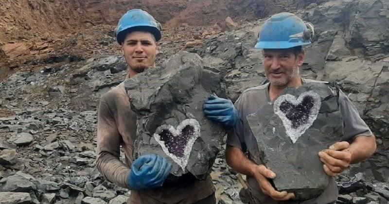 En Uruguay, des mineurs découvrent un coeur sculpté naturellement dans une améthyste