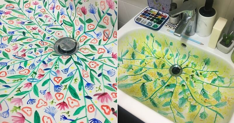 Cette artiste italienne réalise des peintures exceptionnelles dans son lavabo