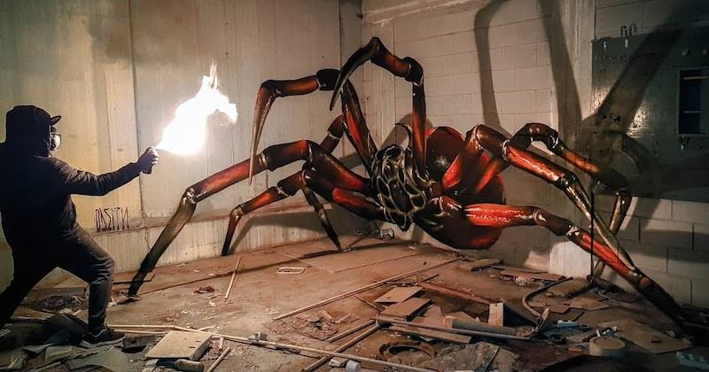 Il réalise des graffitis en 3D donnant l'impression que ces animaux sont réels