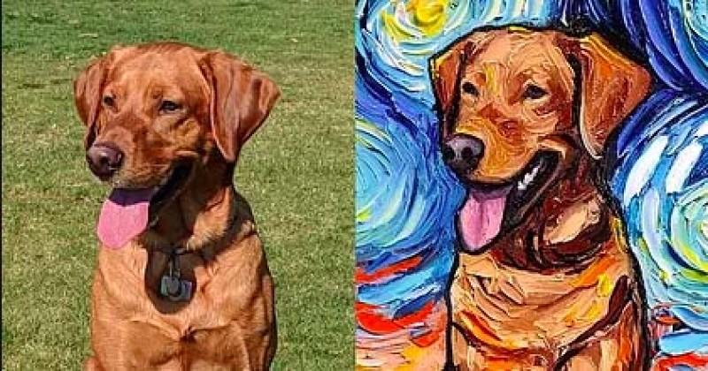 Elle réinvente « La Nuit Étoilée » de Van Gogh en y intégrant des chiens