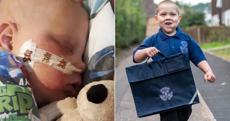 Après avoir vaincu deux leucémies, ce garçon a vécu son premier jour de classe avec une immense joie