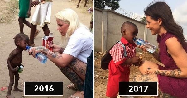Un an après avoir ému le monde en apparaissant famélique sur cette photo, le petit Hope a repris du poil de la bête et va maintenant à l'école comme tous les enfants !