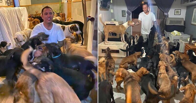 Pendant le passage de l'ouragan Delta, ce Mexicain au grand cœur a abrité 300 animaux de son refuge chez lui