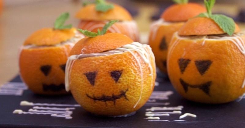 clémentines fourrées à la mousse au chocolat pour halloween !
