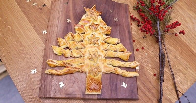 sapin en pâte feuilletée au saumon et à l'aneth pour l'apéritif de Noël