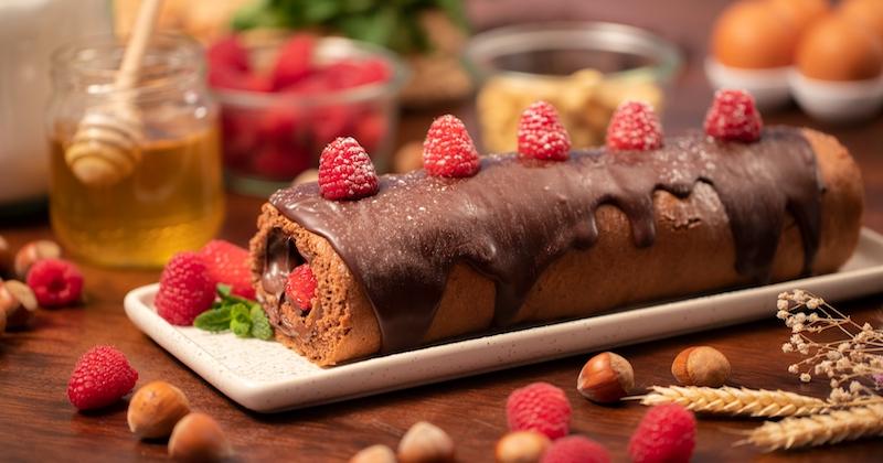 Roulé chocolat framboises