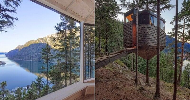 Ces cabanes perchées dans les arbres avec vue imprenable sur le fjords norvégiens vont vous faire rêver