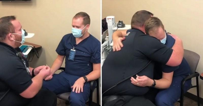 Un infirmier vaccine son petit ami, ce dernier lui fait une adorable surprise avec une demande en mariage