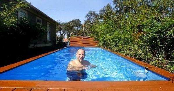 Un architecte transforme un conteneur en piscine, le résultat est absolument sublime ! Et c'est moitié moins cher qu'une piscine creusée...