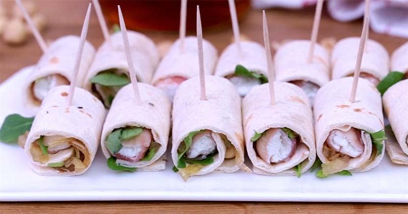 Délicieux et rapide à réaliser, découvrez la recette des savoureux mini-wraps au chèvre et speck !