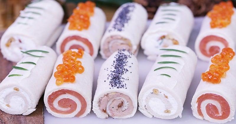 Pour les Fêtes, nos bûchettes au saumon, foie gras ou fromage de chèvre auront forcément leur place dans vos apéros dînatoires!