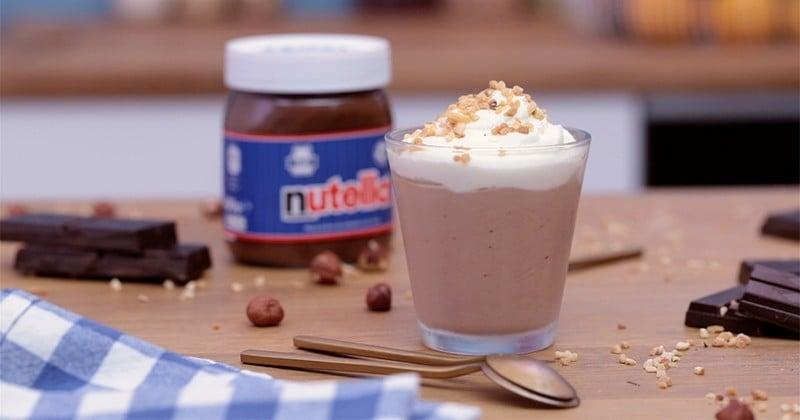 Pour le goûter, tentez la verrine de mousse au Nutella, onctueux et terriblement chocolaté!