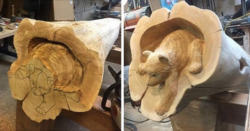 Ce sculpteur sur bois japonais transforme les troncs d'arbres morts pour en faire jaillir des animaux de la forêt