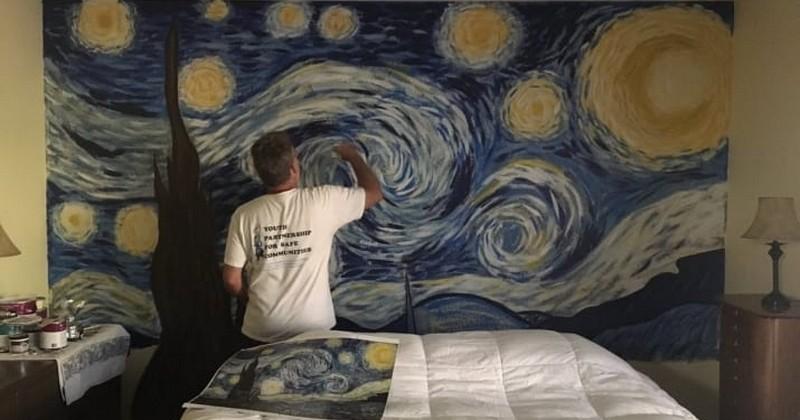 Ce papa a reproduit « La nuit étoilée » de Van Gogh en une seule journée sur le mur de sa chambre. Le résultat laisse sans voix !