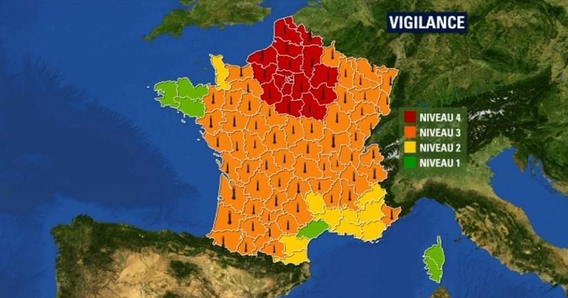 20 départements dont Paris et toute l'Ile-de-France, placés en vigilance rouge, pour la première fois !