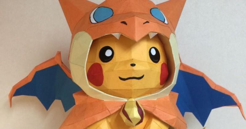 Fan des Pokémon, il s'amuse à les recréer en couleurs avec du papier