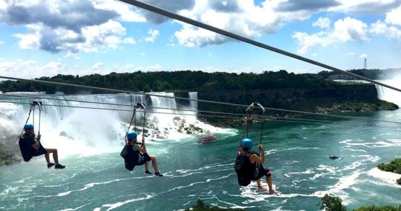 Une tyrolienne géante permet de survoler les chutes du Niagara à plus de 60 km/h