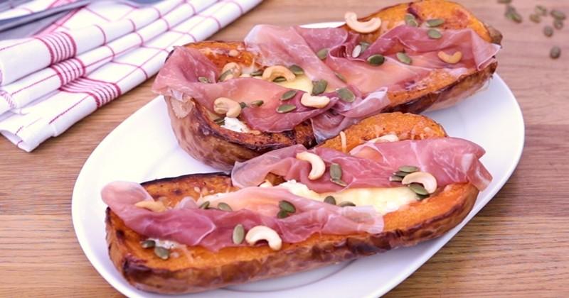 Découvrez une délicieuse recette d'automne : le butternut farci au chèvre et au jambon !