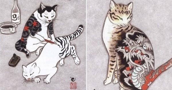 Un artiste japonais tatoue des chats, mais aussi des chats qui tatouent d'autres chats... Hein ?