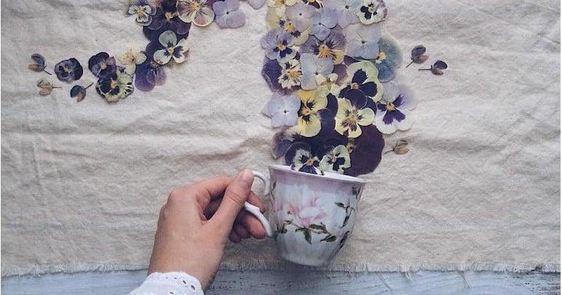 Avec des tasses renversées et des fleurs séchées, cette artiste Russe crée les plus délicates des compositions florales