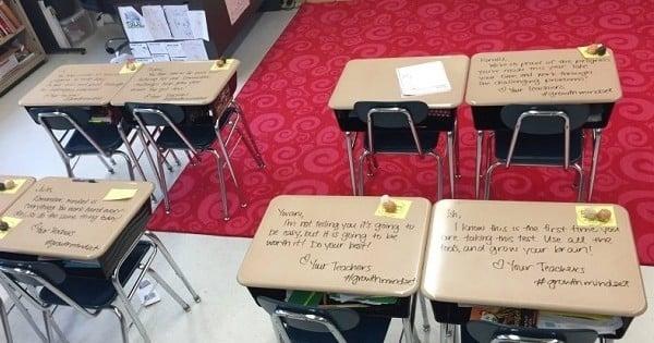 Avant leur examen, les élèves ont eu une agréable surprise sur leur table de la part de leur prof. Il n'y a rien de mieux pour booster votre confiance !