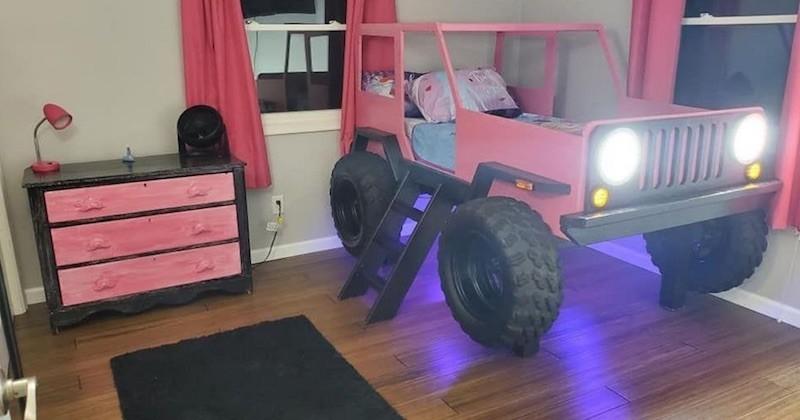 Ce père de famille a construit à sa fille un magnifique lit rose en forme de jeep