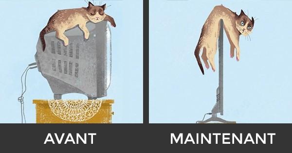 10 photos qui montrent comment les chats ont essayé de s'adapter à la technologie. La 8 est adorable !