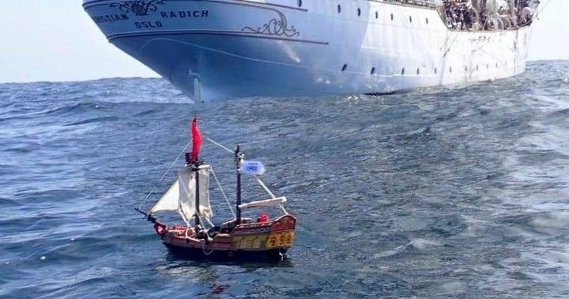 Depuis un an, un bateau Playmobil vogue sur toutes les mers du monde sans interruption !