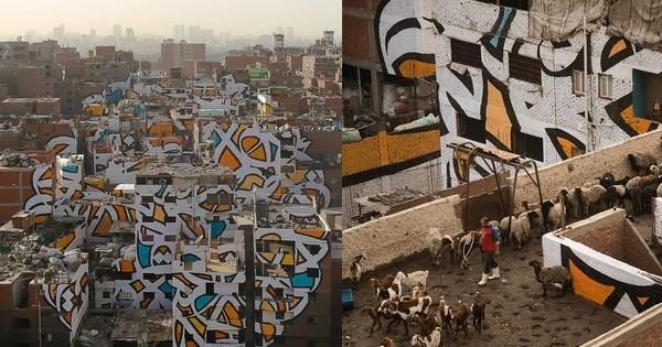 Une gigantesque fresque murale a été réalisée au Caire sur plus de 50 bâtiments par un street-artist, sans que les autorités égyptiennes ne s'en aperçoivent!
