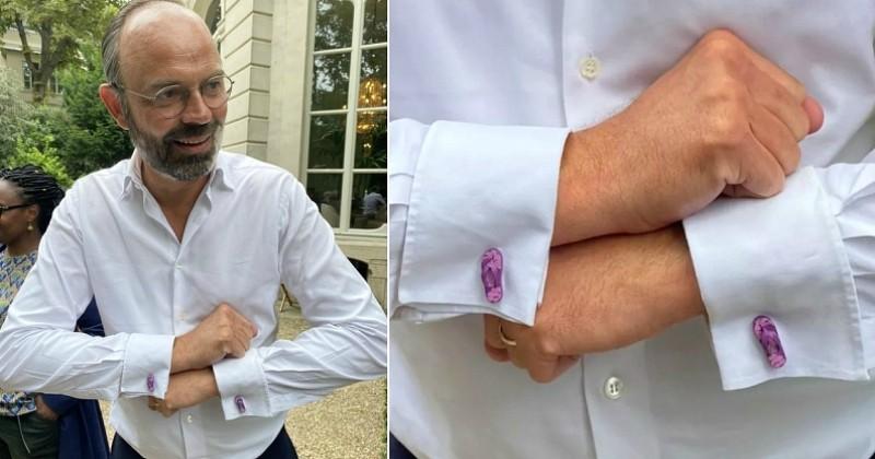 Édouard Philippe portait des boutons de manchette roses en forme de tongs pour son dernier jour à Matignon