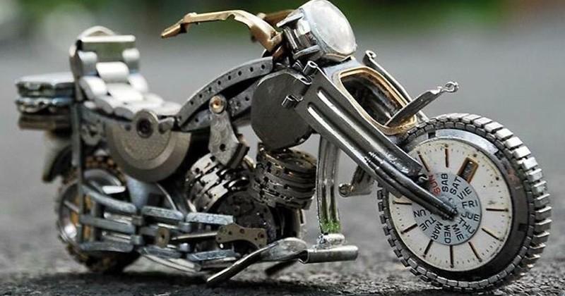 Il crée des sculptures steampunk à partir des pièces de quelques vieilles montres cassées