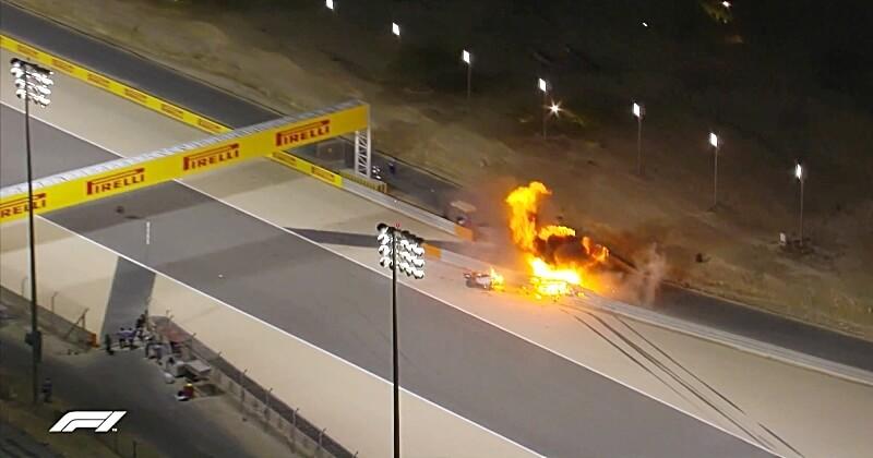 Romain Grosjean victime d'un accident impressionnant lors du Grand Prix de Formule 1 de Bahreïn