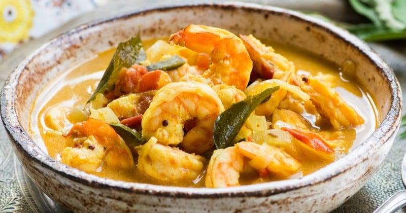 Curry de crevettes à la citronnelle et à la mangue