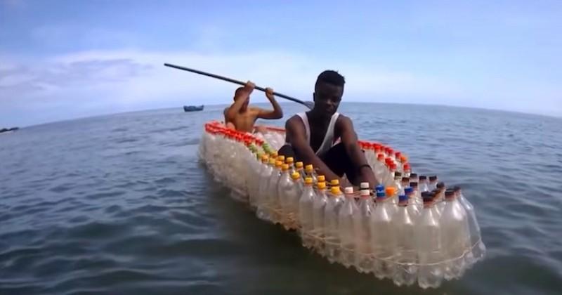 Cameroun : des bateaux fabriqués à partir de bouteilles en plastique