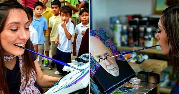 Malgré sa paralysie, elle parvient à peindre des tableaux dignes des plus grands… avec sa bouche !