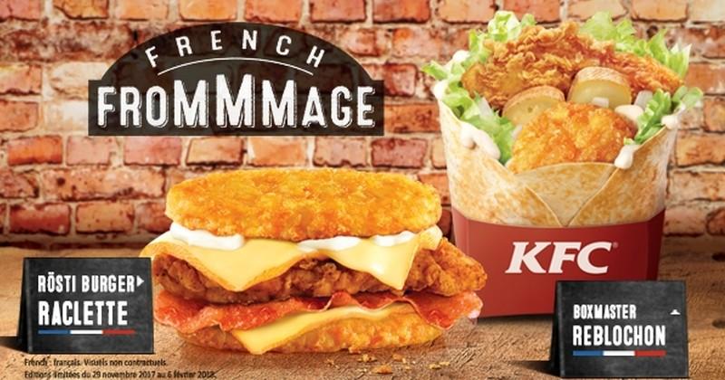 KFC revisite la raclette et la tartiflette avec de nouveaux burgers disponibles jusqu'au 6février 2018!