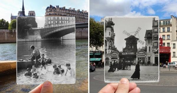 12 photos du Paris actuel superposés avec le Paris du XIXème et XXème siècle. Une véritable plongée dans l'Histoire !