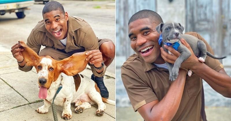 Ce livreur amoureux des animaux égaye son quotidien en prenant la pose avec tous les chiens qu'il croise