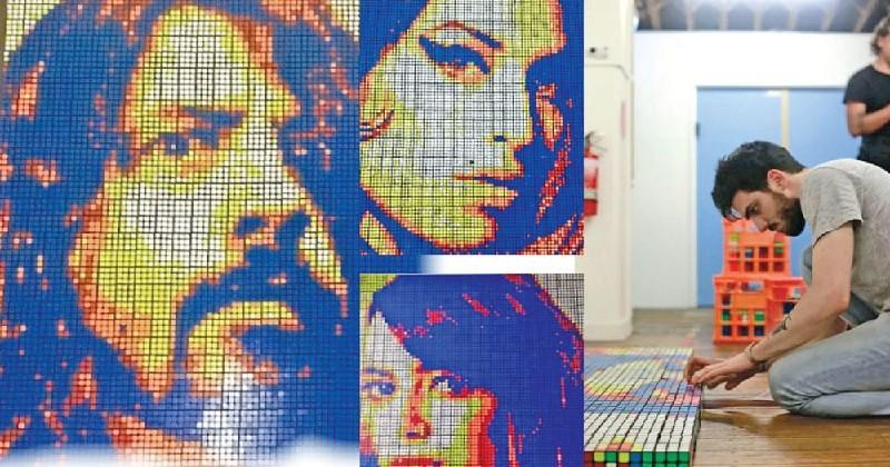 Guivanni Contradi réalise des portraits à base de rubik's cubes