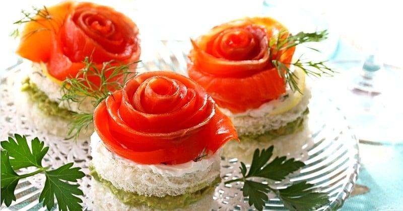 Pour un apéritif raffiné et merveilleux, découvrez les roses au saumon !