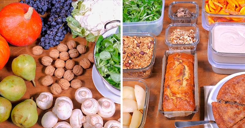 Fondant aux raisins, frites de potimarron… Votre menu de la semaine est prêt en 1H grâce au batch cooking.