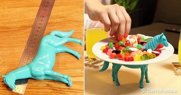 Recyclez vos jouets d'enfant en présentoir à bonbons, pour exposer joliment toutes vos gourmandises !