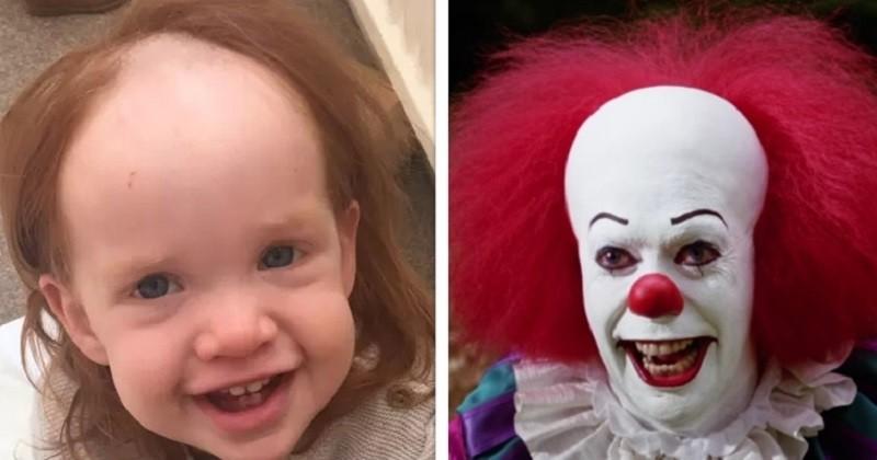 En s'étalant accidentellement de la crème dépilatoire sur la tête, cette fillette a des airs de Pennywise