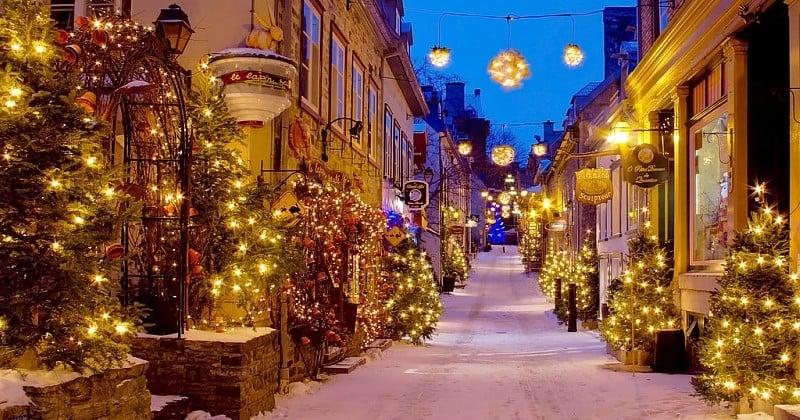 Ce quartier de la ville de Québec semble sorti tout droit d'un film de Noël